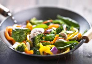 Stir-Fried vegetable with shrimp and quinoa pasta