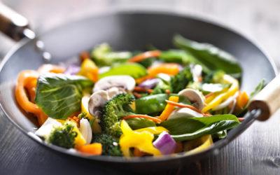 Stir-Fried vegetable with shrimp and quinoa pasta (serves four)