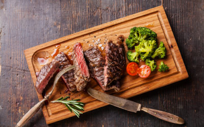 Steamed broccoli with New York strip steak (serves one)