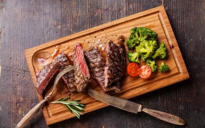 Steamed broccoli with New York strip steak (serves one)